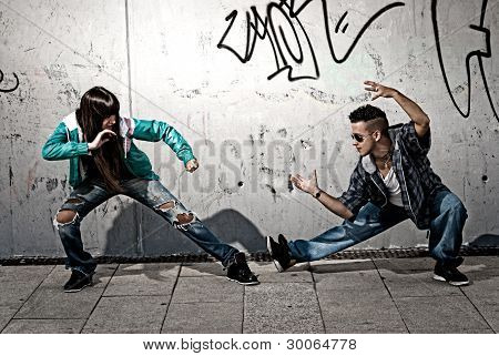 Young Urban Couple Dancers Hip Hop Dancing Fight Acting Urban Scene