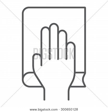 Honestly Thin Line Icon, Truth And Trust, Palm On Book Sign, Vector Graphics, A Linear Pattern On A