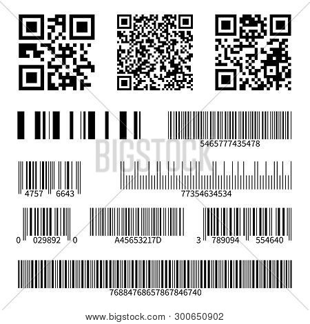 Barcodes. Supermarket Scan Code Bars And Qr Codes, Industrial Barcode Price Black Labels Realistic I