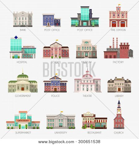 Government Houses. Municipal Office Bank, Buildings Hospital School University Police Station Librar