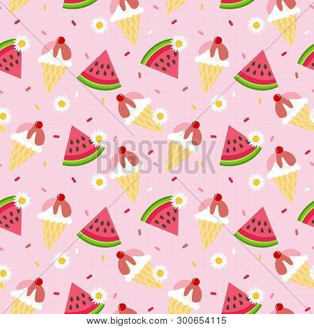 Cute Watermelon And Sweet Ice Cream Seamless Pattern. Sweet Summer Concept.