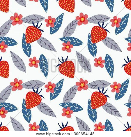 Strawberry And Flower Seamless Pattern. Summer Fruit Concept.