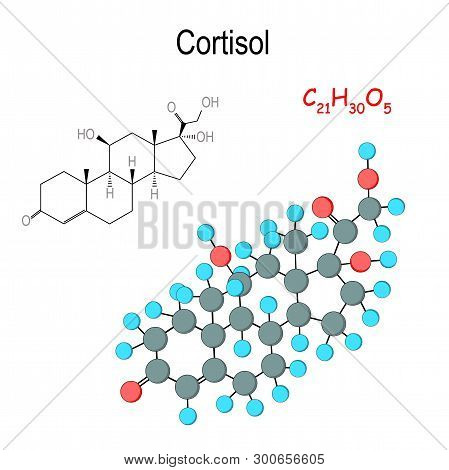 Cortisol. Chemical Structural Formula And Model Of Hormone Molecule. C21h30o5. Cortisol Is Released