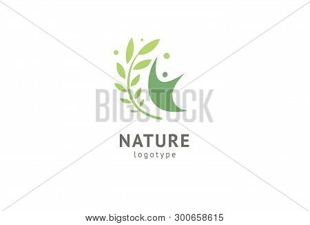 Abstract Nature Logo Icon Vector Design. Healthy Eco Food, Ecology, Spa, Diet, Yoga, Environment Day