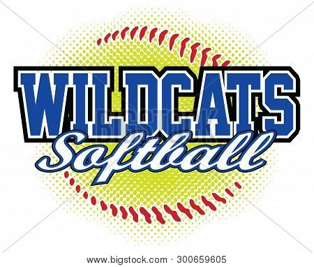 Wildcats Softball Design Is A Wildcats Mascot Design Template That Includes Team Text And A Stylized