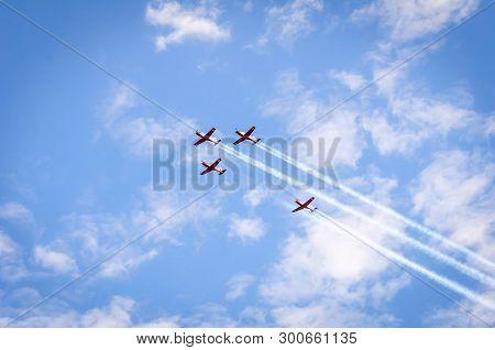 Tel Aviv, Israel. May 9, 2019. Four Beechcraft T-6 Texan Ii Turboprop Airplanes Flying Over The Tel