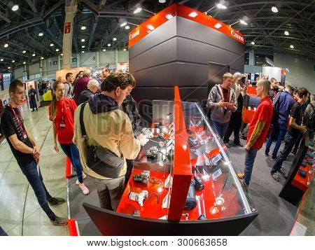 Moscow, Russia - April 11, 2019: Booth Of Canon Company At Photoforum 2019 Trade Show And Exhibition