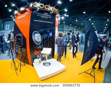 Moscow, Russia - April 11, 2019: Booth Of Godox Company At Photoforum 2019 Trade Show And Exhibition