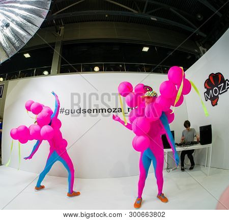 Moscow, Russia - April 11, 2019: Unidentified Ballet Dancers In Exotic Colored Costumes Perform A Pe