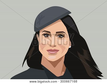 London, Uk - May, 2019: Vector Portrait Of Meghan, Duchess Of Sussex. Meghan Markle, A Member Of The