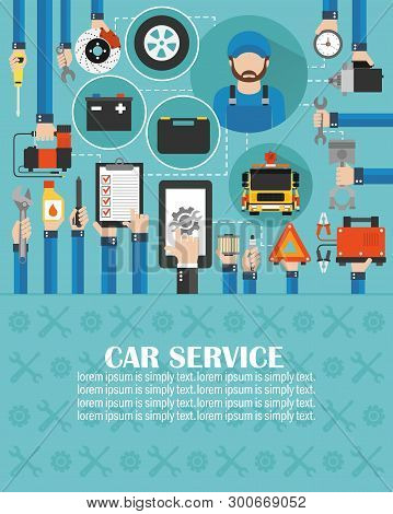 Car Service Online Call Flat Design With Wrecker And Mechanic Isolated Vector Illustration.lorem Ips