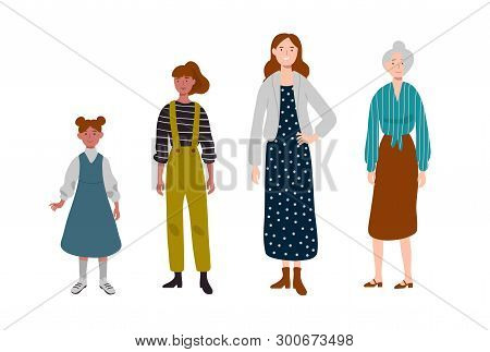Women. Different Ages. Generation Of People, Family, Female Line.