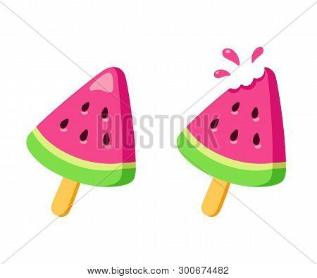 Watermelon Ice Cream, Whole And With Missing Bite. Bright Fruit Popsicle Drawing In Simple Cartoon S