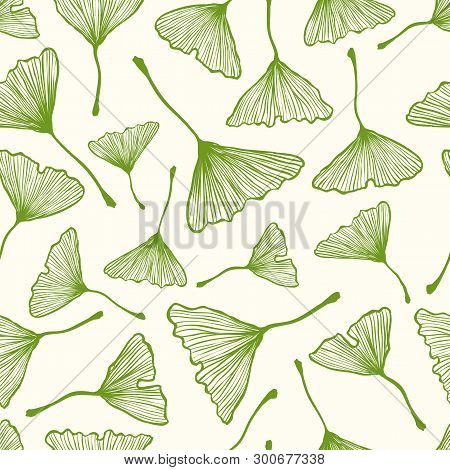 Vector Vintage Seamless Pattern With Ginkgo Biloba Leaf. Vector Retro Floral Pattern With Ginkgo Bil