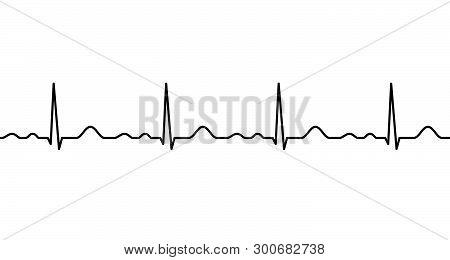 Ekg Line. Heartbeat. Electrocardiography. Seamless Line. Healthy Heart. Medical Design. Vector Illus