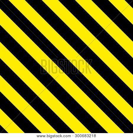 Safety Stripes. Warning Stripes. Barricade Tape. Yellow And Black Diagonal Stripes. Seamless Geometr