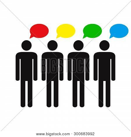 Think differently. Human silhouettes and different colors speech bubbles. Different ideas and thoughts. Vector illustration. poster