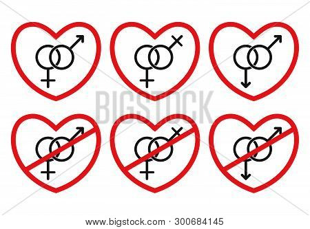 Set Of Heterosexual, Homosexual, Anti-heterosexual And Anti-homosexual Love Icons. Lesbians And Gays