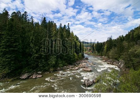 Beautiful Landscape Of River Mountains Carpathians. Mountain River Valley Landscape. River Mountains