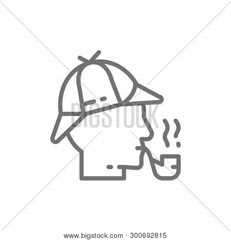Detective, Sherlock Holmes With Smoking Pipe Line Icon.