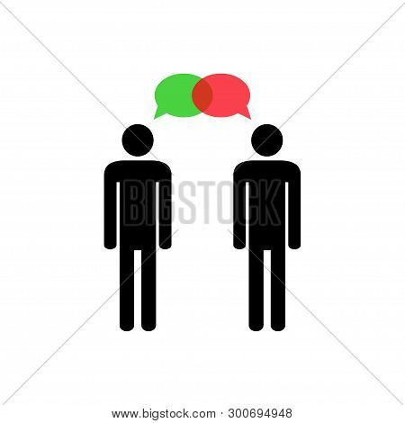 Think differently. Constructive dialog. Two human silhouettes and green and red speech bubbles. Different ideas.  Vector illustration. poster