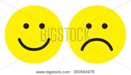 Happy And Sad Face Icons. Face Symbols. Flat Stile. Vector Illustration.