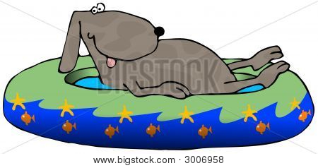 This illustration depicts a dog in a kids wading pool. poster