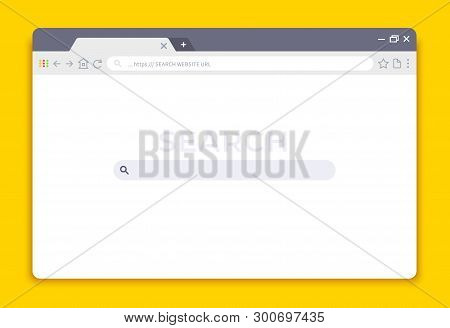 Browser Interface. Website Window Mockup, Internet Screen Frame, Browser Tab. Vector Empty Web Windo