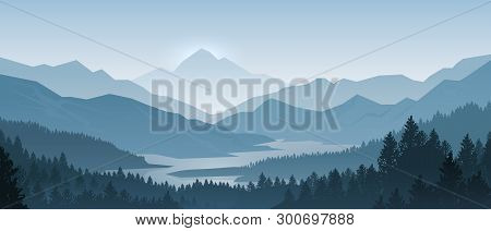 Realistic Mountains Landscape. Morning Wood Panorama, Pine Trees And Mountains Silhouettes. Vector F