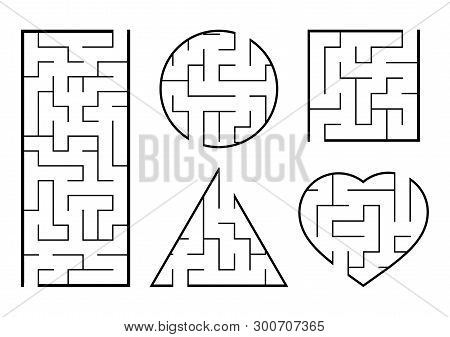 A Set Of Mazes. Game For Kids. Puzzle For Children. Labyrinth Conundrum. Find The Right Path. Vector