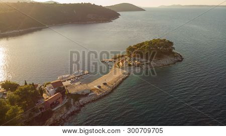 Spectacular Aerial Landscape With Peninsula Stretching Into The Sea.