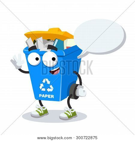 Cartoon Joyful Blue Recycle Garbage Can With Paper Mascot With A Speech Bubble