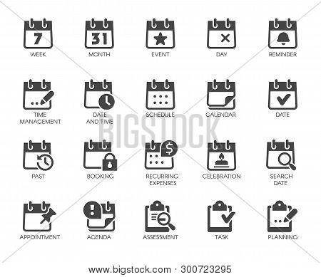 Premium Icons Pack On Time Management Such Solid Signs As Calendar, Time And Date, Month, Schedule,