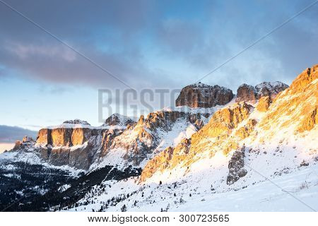 Gruppo Del Sella In The Light Sunset, Canazei, Italy