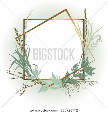 Template Design Card With Grass. Wedding Invitation Frame  With Leaves, Twigs And Plants. Herbal Gar