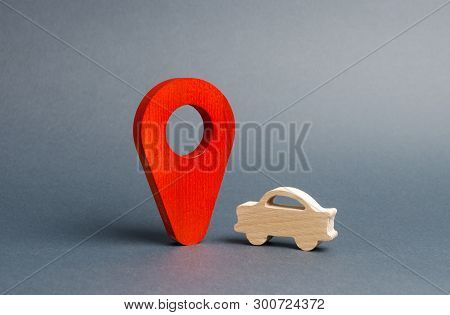 Car Figure And A Red Location Marker. Search Cars, Buy Or Sell. Contacting The Police To Find The Wa