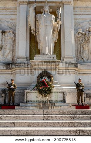 Rome, Italy - April 20, 2015: Vertical Front View Of Two Soldiers Guarding The Unknown Soldiers Tomb