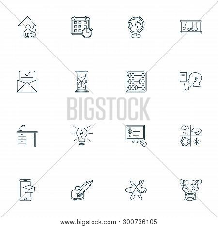 Education Icons Line Style Set With Astrophysics, Admission Letter, Globe And Other Abacus Elements.