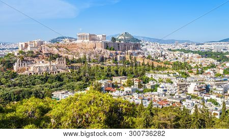 Aerial View Of Athens With Acropolis Hill, Greece. Famous Ancient Acropolis Is A Top Landmark Of Ath
