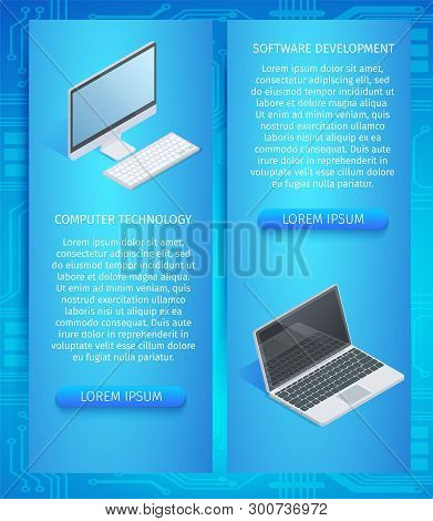 Computer Technology, Software Development Vertical Banners Set With Copy Space. Laptop And Personnel