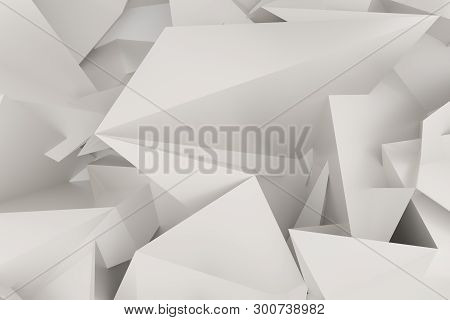 Background Abstract Cgi, Random Geometric Backdrop For Design, Graphic Resource. 3D Render.