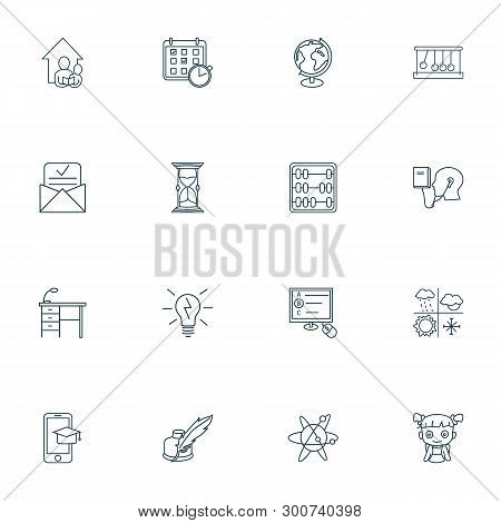 School Icons Line Style Set With Astrophysics, Admission Letter, Globe And Other Abacus Elements. Is