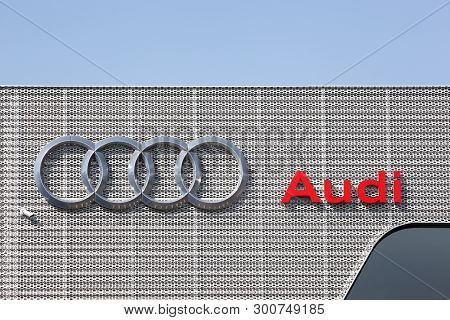 Nimes, France - July 1, 2018: Audi Logo On A Building Of A Dealership. Audi Is A German Automobile M