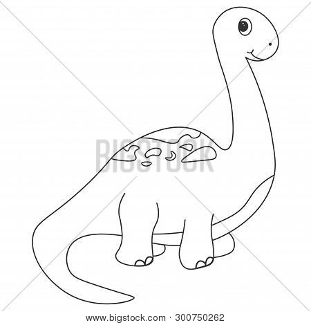 Contour Of Dinosaurus Brachiosaurus, Which Can Be Used As A Coloring. Isolated On White Background.