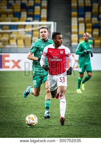 Kyiv, Ukraine - November 29, 2018: Joe Willock Of Arsenal In Action During The Uefa Europa League Ga