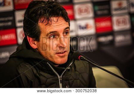Kyiv, Ukraine - November 29, 2018: Arsenal Manager Unai Emery At The Press-conference After The Uefa