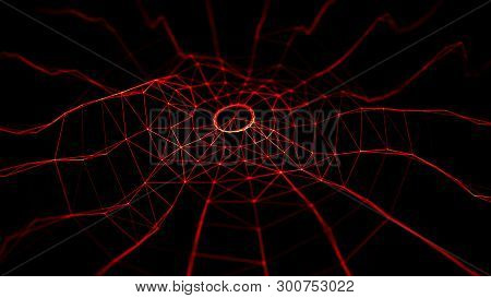 Wave 3D. Wave Of Red Particles. 3D Glowing Abstract Digital Particles Background. Abstract Fire Back