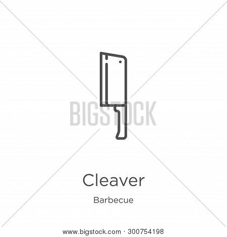 Cleaver Icon. Element Of Barbecue Collection For Mobile Concept And Web Apps Icon. Outline, Thin Lin