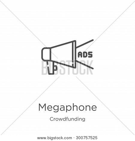 megaphone icon. Element of crowdfunding collection for mobile concept and web apps icon. Outline, th