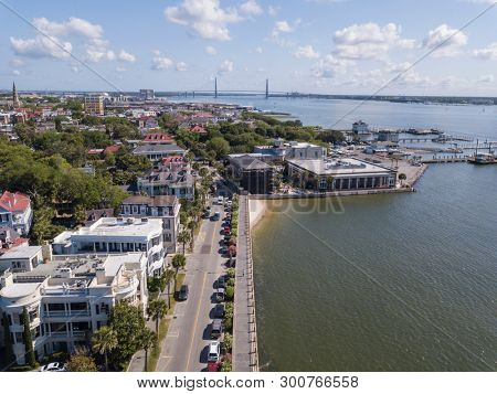 Aerial view of historic Charleston, South Carolina along East Bay Street.